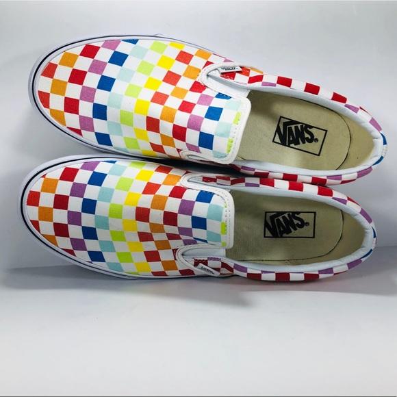 fe1ca1916dec Vans Classic Slip On Rainbow Checkerboard Sneakers